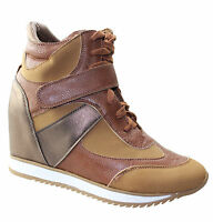 Womens Wedge Heel Boots Ladies High Top Ankle Shoes Comfort Trainer Size