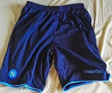 Team Napoli Mens Official Soccer Shorts Macron Size XL Navy 2014 w zip pockets