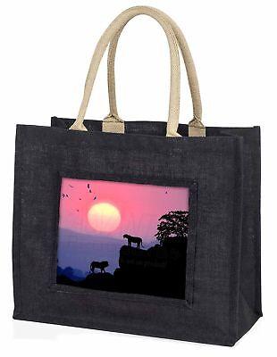 Afrikanische Löwen Sonnenaufgang große schwarze Einkaufstasche