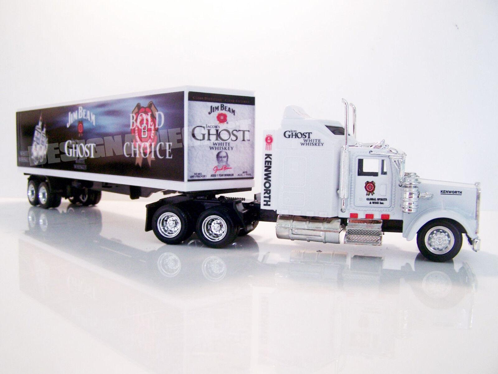 Kenworth W900 semi camión Diecast Escala 1 43 43 43 gráficos personalizados de Jim Beam Fantasma blancoo 0cd97a