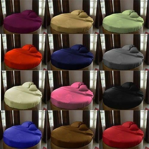 Egyptian Cotton Round Bed Fitted Sheet+2 PC Pillow Case 96  Diameter All color