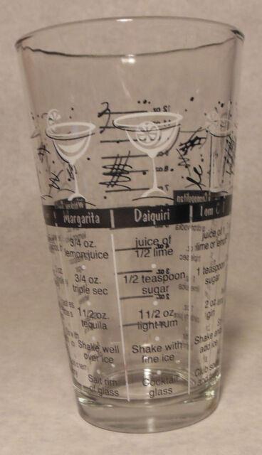 Vintage Beverage Glass Bartender Recipe Drink Guide Container Federal Glass