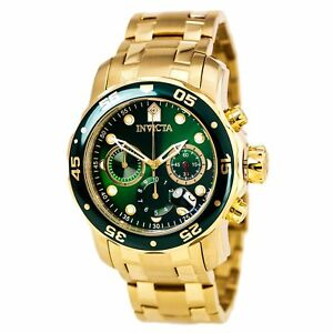 Invicta-0075-Men-039-s-Pro-Diver-Gold-Tone-Steel-Green-Dial-Chronograph-Watch