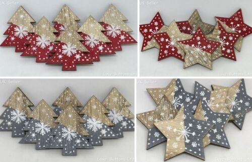 Pack de 6 en Bois Arbre de Noël et Étoile Stick Adhésif flocon de neige Décorations