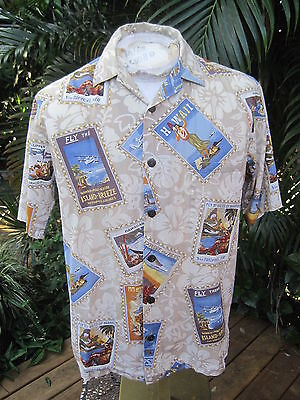 Made in Hawaii SHIRT S pit to pit 23 HILO HATTIE cotton old travel posters hula