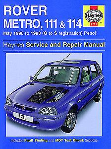 Haynes Manual 1711 Rover Metro  111 /& 114 90-98 Petrol H1711