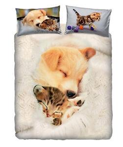 Lenzuola Matrimoniali Con Cani.Details Sur Set Copripiumino Lenzuola Matrimoniale Sweet Sleep Cane Gatto Imagine Bassetti