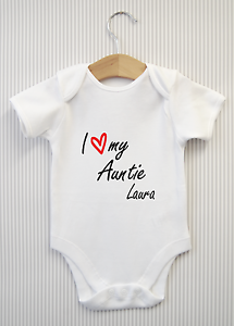 Personalised i love my auntie baby grow bodysuit vest funny image is loading personalised i love my auntie baby grow bodysuit negle Image collections