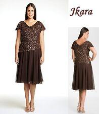 JKARA Plus Size Brown Beaded Chiffon Formal Dress Mother Bride Wedding $208 14W
