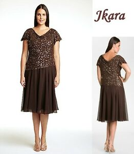 JKARA-Plus-Size-Brown-Beaded-Chiffon-Formal-Dress-Mother-Bride-Wedding-208-14W