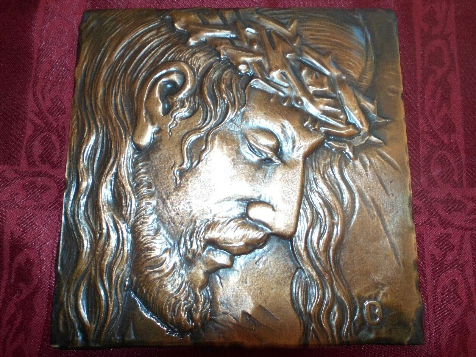 Kupferstich Jesusgesicht Bild Weihnachten Advent Deko Kunst Kirche Christus Rar