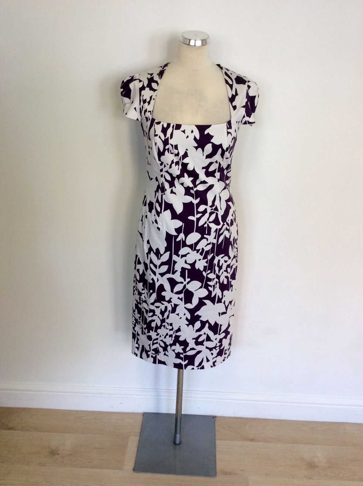 LAURA ASHLEY MULBERRY & WHITE PRINT PENCIL DRESS SIZE 10