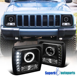 For-1997-2001-Jeep-Cherokee-Halo-Projector-Head-Lights-Lamps-W-SMD-LED-Black