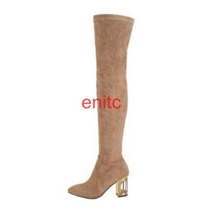 Sexy Faux Suede Block Heels Over Knee High Thigh Womens High Boots Roman Shoes