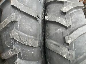 TWO-13-6X28-13-6-28-JOHN-DEERE-2030-8-Ply-R-1-Bar-Lug-Tractor-Tires-with-Tubes