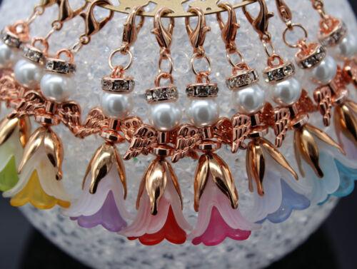 10-50 colgantes de Ángel Rosegold DIY flores Ángel amuleto cumpleaños bricolaje