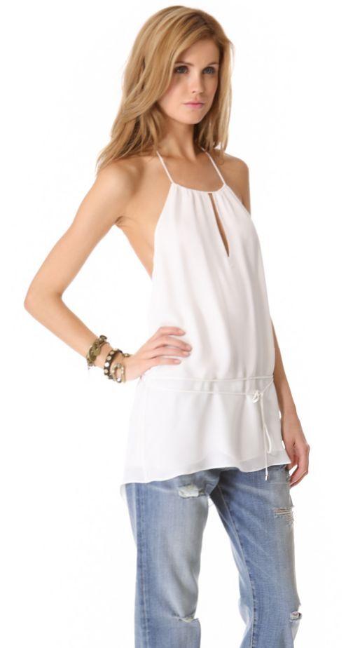 Haute Hippie Tie Waist Halter Silk Top Camisole Tank Blouse     Größe S