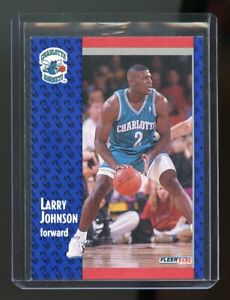 1991-92 Fleer #255 Larry Johnson Charlotte Hornets Rookie Card