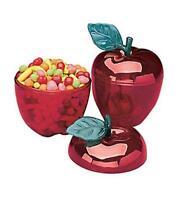 Set Of 12 Secretary Teacher Appreciation Bright Red Apple Containers Ea. 4 3/4h