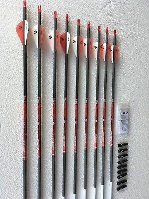 9 Pack Arrows Bloodsport Hunter 300 Arrows w//Vanes /& Inserts