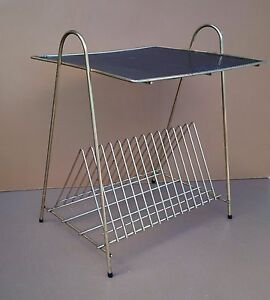 table porte tourne disques range vinyle vintage m tal t le perfor e mategot ebay. Black Bedroom Furniture Sets. Home Design Ideas