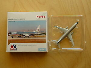 Herpa Flugzeugmodelle Maßstab 1:500 American Airlines Boeing 727-200