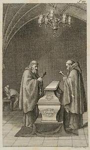 Chodowiecki (1726-1801). due monaci alla bara elisens; pressione grafico 2