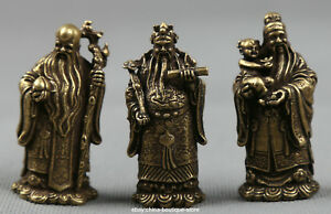 Small Curio Chinese Bronze Taoism 3 Longevity God Fu Lu Shou Life Wealth Statue