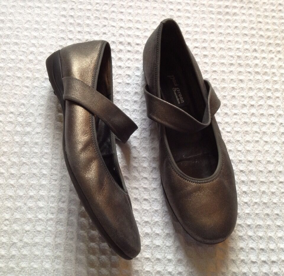PAUL GREEN Leather Mary Mary Mary Janes Flats Loafers - Bronze - AT 7.5 US 10 600d60