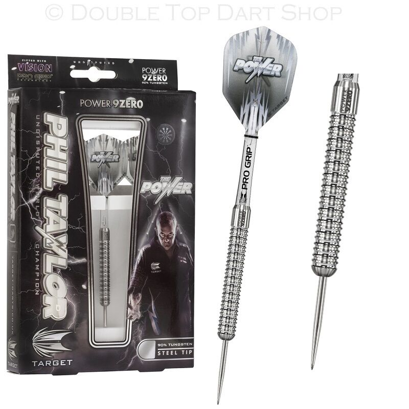 Phil Taylor Power 9Zero 90% Tungsten Steel Tip Darts by Target - 22g 24g or 26g
