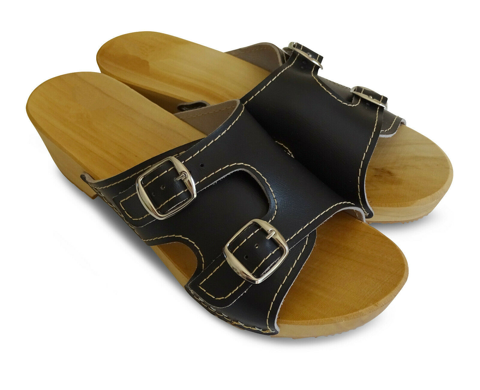 2 Holz Holzschuhe Damen Leder Pantoletten Clogs Sandalen Mit OPk0w8Xn
