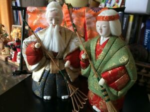 Vintage-Japanese-Kimekomi-Ningyoo-Doll-traditional-Antique-Couple-Set-with-Base