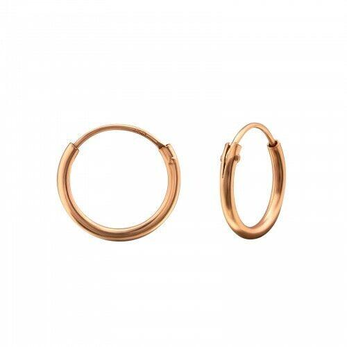 925 Sterling Silver 12mm Rose Gold Hoop Sleeper Earrings Girls Ladies