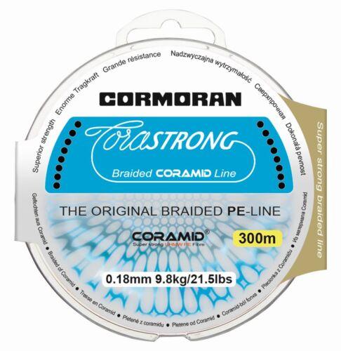 0,40 mm résistant aux UV CORMORAN CORASTRONG Braid 300 M Tressées Fil 0,10 mm