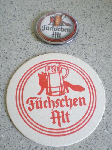 DÜSSELDORF-BUTTON-KEIN PIN-FÜCHSCHEN ALT-plus Bierdeckel-ca 5,5 cm-FÜCHSCHEN-TOP