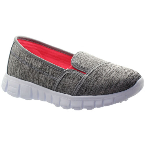 Ladies Canvas Padded Slip On Flexi Plimsoll Pumps Walk Trainers Go Shoes