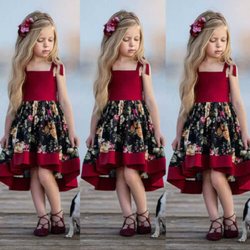 Floral Strap Girl Dress Casual Sundress Party Dresses Children Wear Kids Clothes