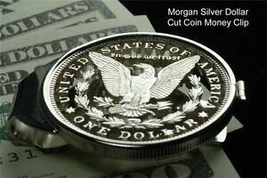 Morgan-Money-Clip-100-Year-Old-Large-US-Eagle-Silver-One-Dollar-Hand-Cut-Coin