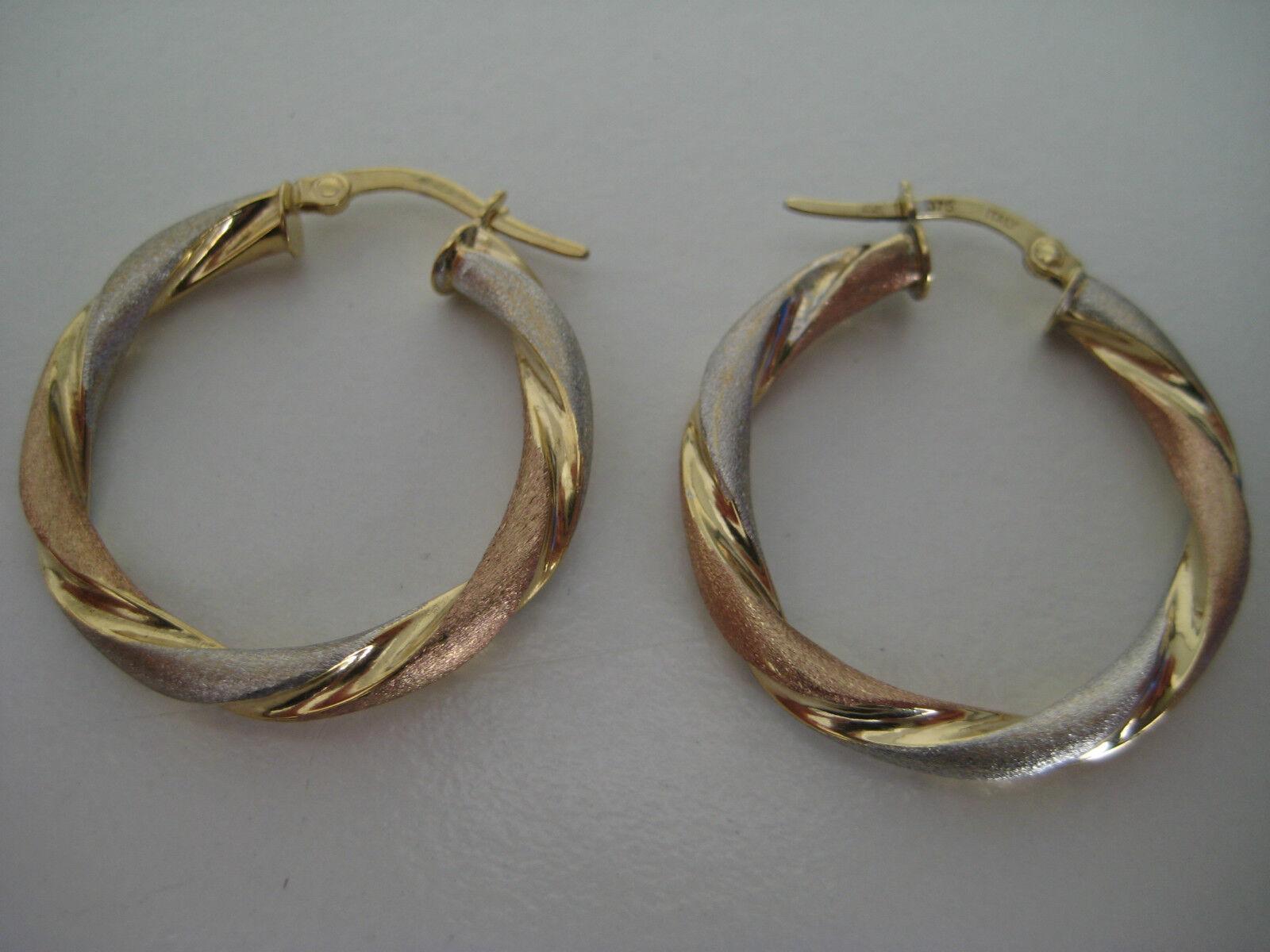 gold hoop earrings twist 9 carat multi colour gold