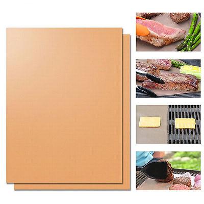 Kitchen Copper Chef Grill and Bake Mats Nonstick Reusable BBQ Tools 2Pcs 40*60cm