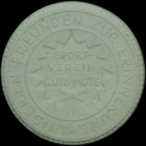Selbstbewusst, Befangen, Gehemmt, Unsicher, Verlegen Fussball: Porzellan-medaille 1923. Zur Erinnerung - Guts Muts Dresden.