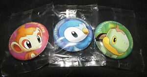 Factory Sealed Japanese Chimchar Badges Piplup /& Turtwig 2007 Pokemon Pins