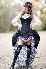 3pc Steampunk Dress Goth Dress Blk Satin Corset w/White & Black Damask Skirt