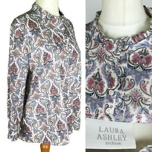 Laura-Ashley-White-Pink-Ditsy-Floral-Smock-Tunic-Blouse-Plus-Size-16-14-M