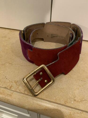 Vintage 70s Calderon Handmade Suede Leather Belt M