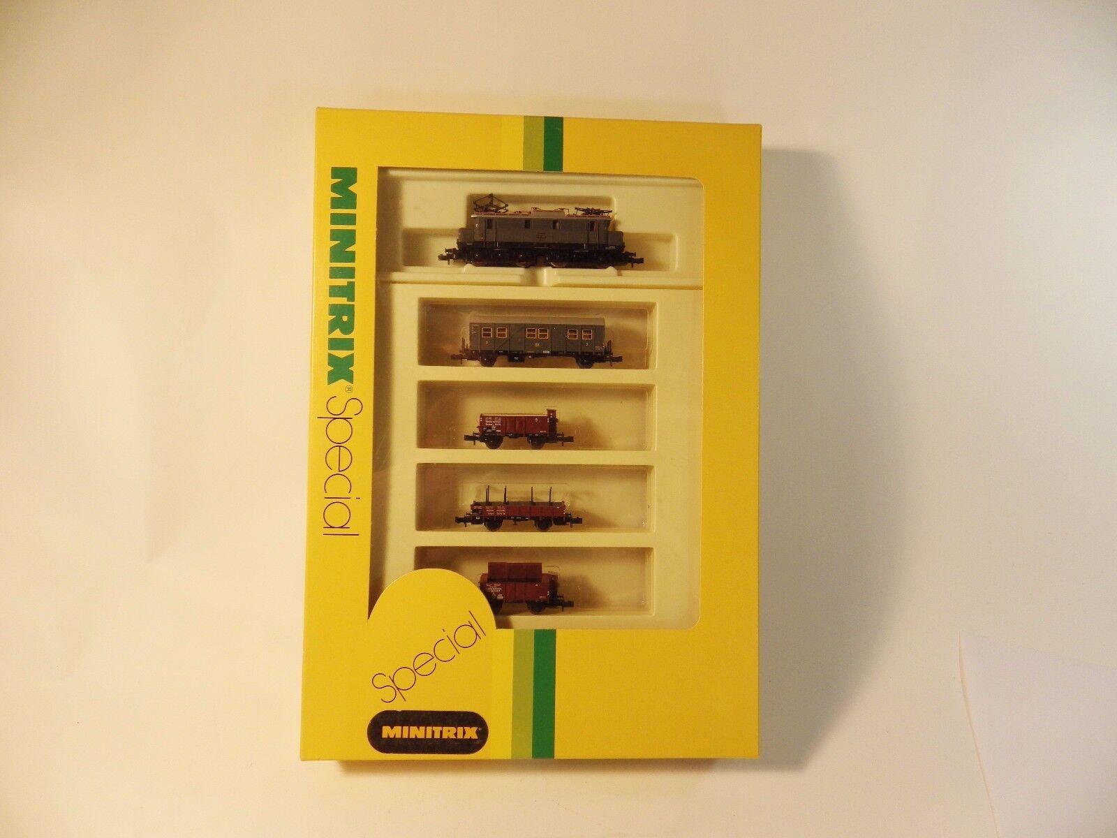 Minitrix 11014 Spur N, 5-parte. treno merci-Set, Lok DR 89643, Ep. II, OVP, MDL