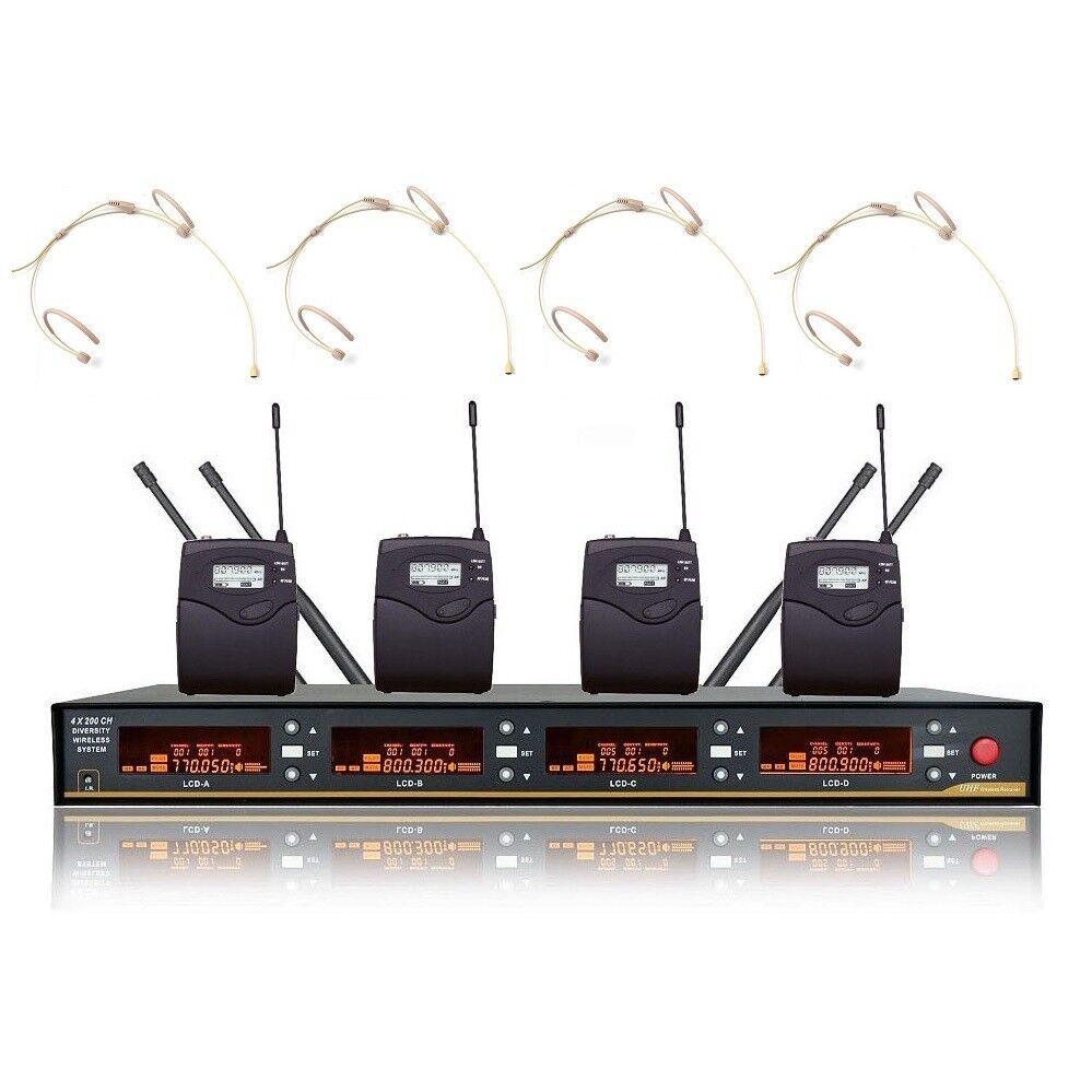 Cuatro Canales Micrófonos Inalámbrico Uhf Profesional 4 4 4 sistema de micrófono sin cable de auricular  Ahorre 35% - 70% de descuento