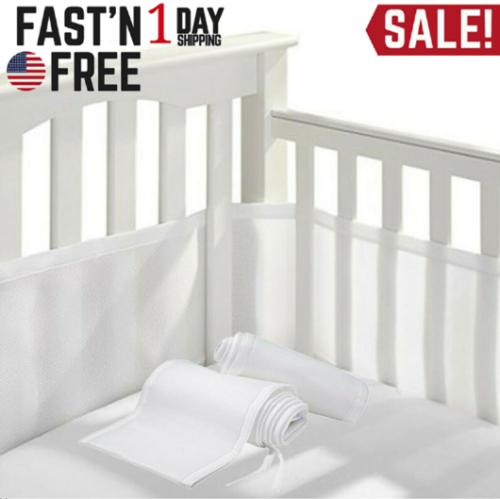NEW Breathable Crib Bumper Grey, Mesh Crib Liner for Standar