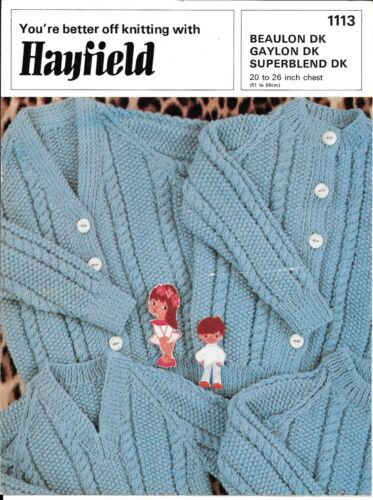"Hayfield 1113 vintage baby knitting pattern 20-26 /""DK Pull Cardigan câbles"