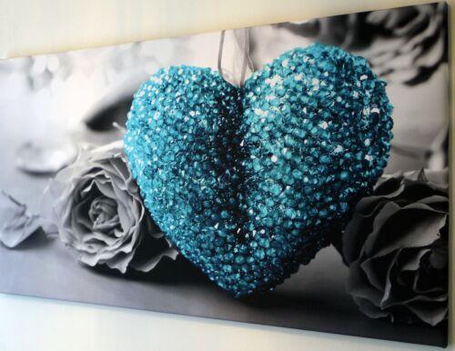 Bleu Sarcelle Turquoise Amour Coeur Toile Imprimer Wall Art Photo 18 x 32 in environ 81.28 cm
